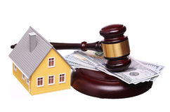 Concept of house sale with gavel and money isolated Royalty Free Stock Image