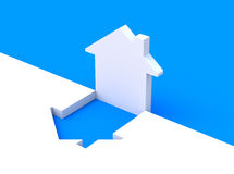 Concept with house shape. 3D concept with white house symbol over white-blue background Stock Images