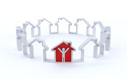 Concept with house shape Royalty Free Stock Photography