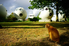 Concept housing. Spherical houses designed by Dries Kreijkamp in Bolwoningen, Netherlands stock image