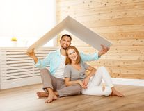 Concept housing a young family. couple in  new home Stock Photos