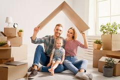 Family in new house royalty free stock photos