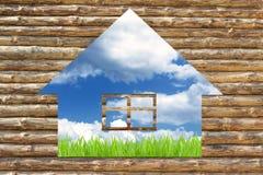 Concept houten ecologisch huis Stock Foto's