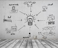 Concept of How to create idea on Concrete wall and Wood floor Royalty Free Stock Image