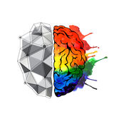 Concept of the human brain. Creative concept of the human brain. Right and left side stock illustration
