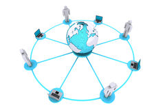 Concept for human and computer connection around world. 3D render of concept for human and computer connection around world on white background Stock Image