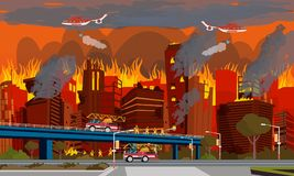 Concept of Human Disaster. Extinguish City Fire. Concept of Human Disaster. Firefighter Extinguish City Fire by Truck Water and Helicopter. House Destructed by Royalty Free Stock Photos