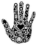 Concept of human hand. Human hand concept. Made of 100  icons set in black color Royalty Free Stock Photo
