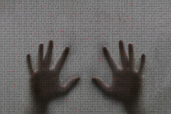 Concept human hands and computer binary code Stock Image