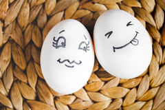 Concept human relationships and emotions eggs - flirtation Royalty Free Stock Photos