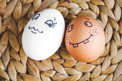 Concept human relationships and emotions eggs - flirtation Stock Photography