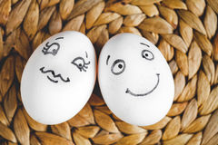Concept human relationships and emotions eggs - flirtation Royalty Free Stock Photography