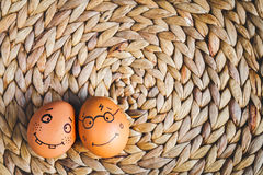 Concept human relationships and emotions eggs - smile Royalty Free Stock Images