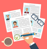 Concept of Human Resources Management. Illustration Concept of Human Resources Management, Finding Professional Staff, Flat Simple Icons - Vector Stock Photography