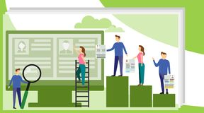 Concept Human Resources, Recruitment for web page, banner, presentation, social media, documents, cards, posters. We are. Hiring IT Talent, Business recruitment stock illustration