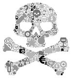 Concept of human skull. Human skull concept. Made of 100  icons set in black and gray colors Royalty Free Stock Images