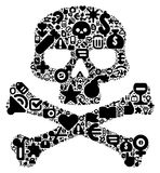 Concept of human skull. Human skull concept. Made of 100 vector icons set in black color Stock Photo