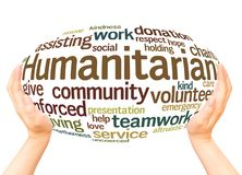 Concept humanitaire de sphère de main de nuage de mot photos libres de droits
