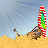 Concept Humor Background - Potato, sunglasses/surf board on frenchfries Royalty Free Stock Images