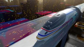 High-speed passenger train moves in a glass tunnel stock footage