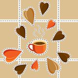 Concept - I like coffee. Morning. Tasty coffee. Cartoon style. V. Coffee cup and hearts. Concept - I like coffee. A fragrant drink. The beginning of the day Royalty Free Stock Image
