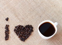 Concept of I love coffee on brown jute Royalty Free Stock Images