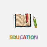 Concept Icon education, pencil book shadow. Stock Photos