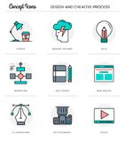 Concept icons,design and creative process, flat thin line design Royalty Free Stock Photography