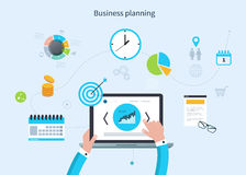 Concept with icons set of modern business working. Flat design vector illustration infographic concept with icons set of modern business working elements, market Royalty Free Stock Image