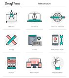 Concept icons, web design, flat thin line design Stock Photo