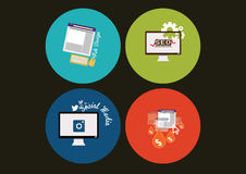 Concept icons for web and mobile services and apps. Set of flat design concept icons for web and mobile services and apps. icons for web design, seo, social Royalty Free Stock Photos