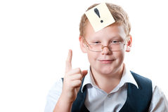 The concept of the idea. Portrait of a teenager with a sticker on the white background Stock Photo