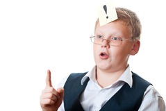 The concept of the idea. Portrait of a teenager with a sticker on the white background Royalty Free Stock Image