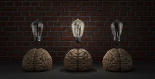 Concept idea arose three brain lie on the floor and one of them Royalty Free Stock Photo