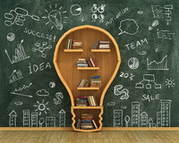 Concept of idea. Bookshelf full of books in form of bulb with concept drawing on whiteboard Royalty Free Stock Image