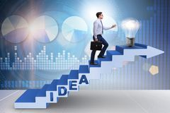 The concept of idea with businessman climbing steps stairs Royalty Free Stock Photos