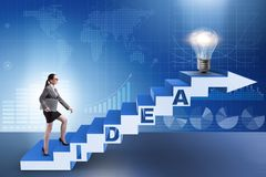 The concept of idea with businesswoman climbing steps stairs. Concept of idea with businesswoman climbing steps stairs Stock Photo