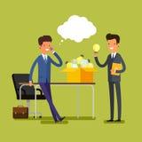 Concept of idea. Cartoon businessman Royalty Free Stock Image