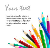 Concept idea with colorful vector pencils as corner frame Royalty Free Stock Images