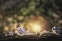 Concept idea. Growing light bulb on vintage book with crumpled p. Apers. Copy space for your text. conceptual great ideas are always available. Creative thinking stock image