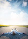Concept and idea of happiness lifestyle. Young man relax on the road. Concept and idea of happiness lifestyle Royalty Free Stock Images