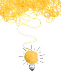 Concept of idea and innovation with wool ball. Concept of idea and innovation with tangle of wool yarn stock images