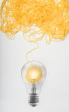 Concept of idea and innovation with wool ball. Concept of idea and innovation with tangle of wool yarn stock image