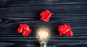 Concept idea inspiration on dark wooden background top view Stock Photos