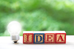 The concept of idea. Lamp and word idea text block Royalty Free Stock Image