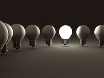 Concept Idea Light Bulb. Different Leader Stock Images