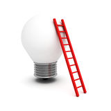 Concept idea light bulb with red ladder Stock Image
