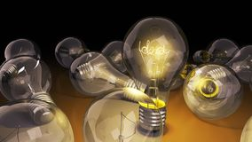 Concept of idea light bulb with word idea inside background for. Presentations 3d render image Stock Photos