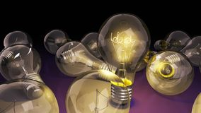 Concept of idea light bulb with word idea inside background for. Presentations 3d render image Royalty Free Stock Photography