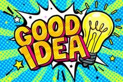 Concept of Idea. Message Good Idea in pop art style. Vector illustration stock illustration